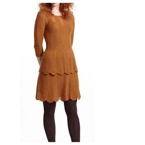 Anthropologie Tiered Pointelle Knit Dress S Gold